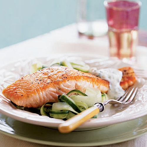 Salmon with Cucumber Salad and Dill Sauce