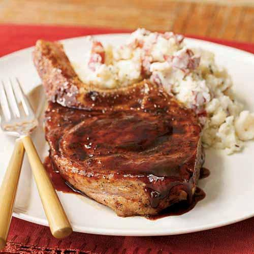 Pork Chops with Ancho Chile Rub and Raspberry Glaze Recipe