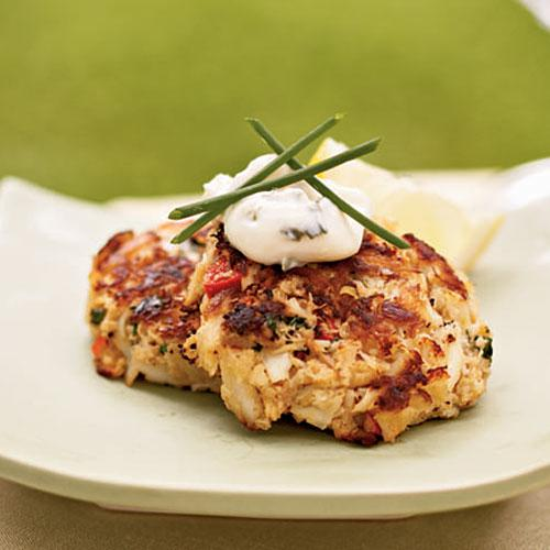Mini Crab Cakes with Herbed Aioli - Crab Cake Recipes - Cooking Light