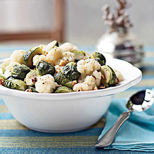Steamed Brussels Sprouts and Cauliflower with Walnuts