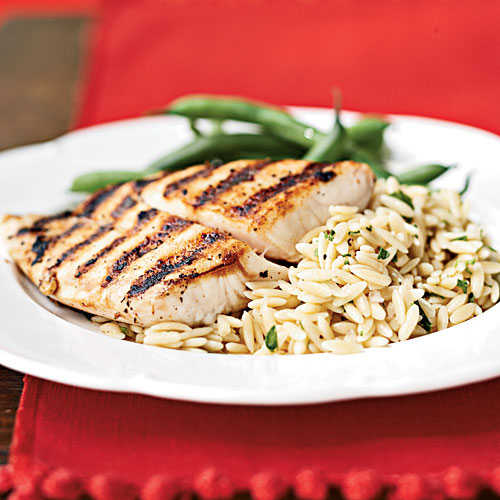 Pan-Grilled Snapper with Orzo Pasta Salad