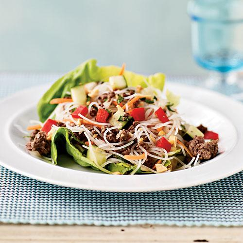 Asian Beef and Noodle-Filled Lettuce Cups