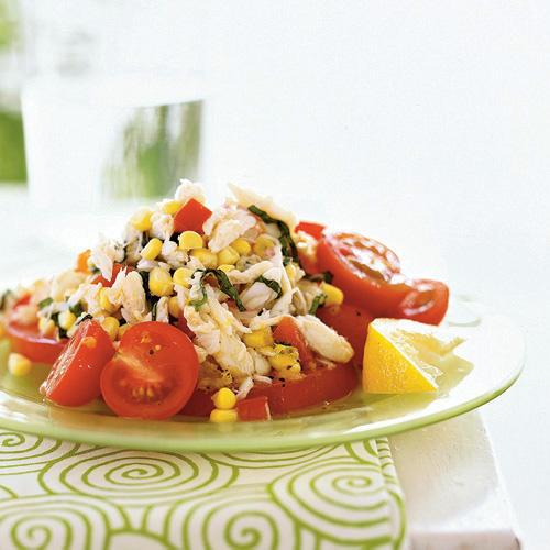 This salad combines three very different kinds of sweetness—the pure sweet of corn, the savory, almost meaty sweet of tomatoes, and the clean, oceanic sweet of crabmeat.