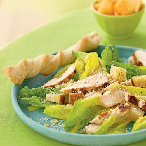 Hearts of Romaine Caesar Salad with Grilled Chicken