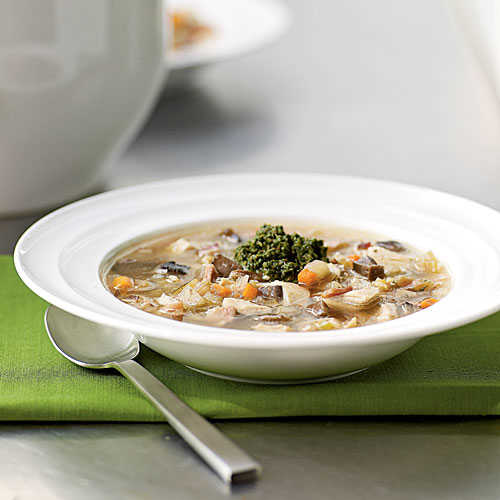 Healthy Chicken Barley Soup with Walnut Pesto Recipe