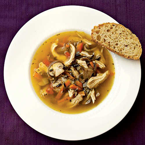 Superfast Holiday Dishes Wild Rice and Mushroom Soup with Chicken