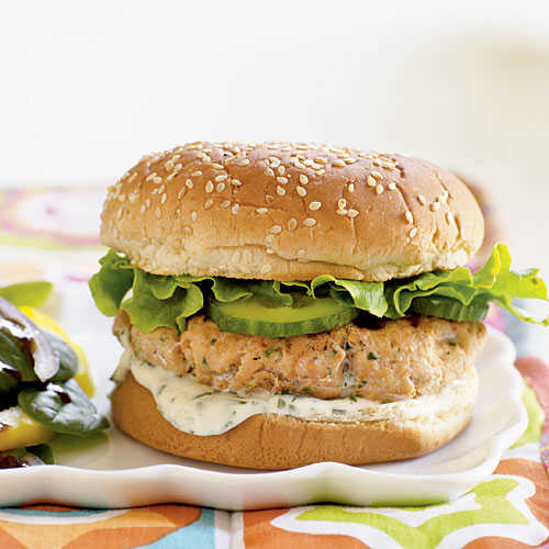 Fresh Salmon-Cilantro Burgers Recipe