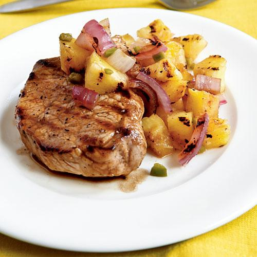 Pan-Grilled Pork Chops with Grilled Pineapple Salsa - Healthy Pork ...