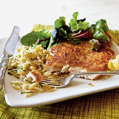 Healthy Dinner Recipes: Chicken Milanese with Spring Greens
