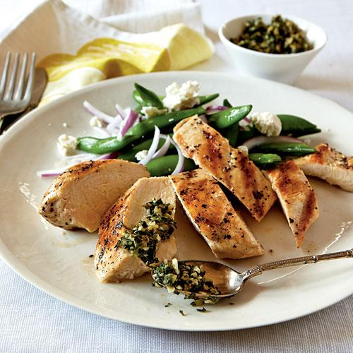 Healthy Dinner Recipes: Grilled Chicken with Mint and Pine Nut Gremolata