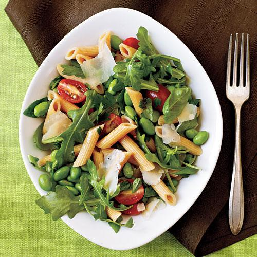 Kid-Friendly Whole-Wheat Pasta with Edamame, Arugula, and Herbs