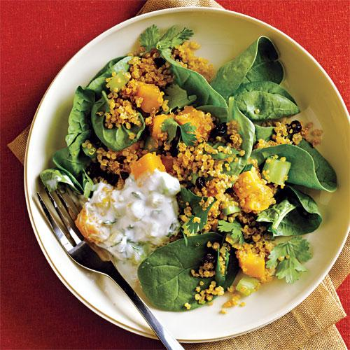 Curried Quinoa Salad with Cucumber-Mint Raita - Recipes