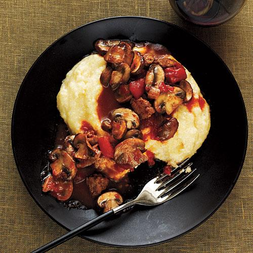 Mushroom and Sausage Ragù with Polenta