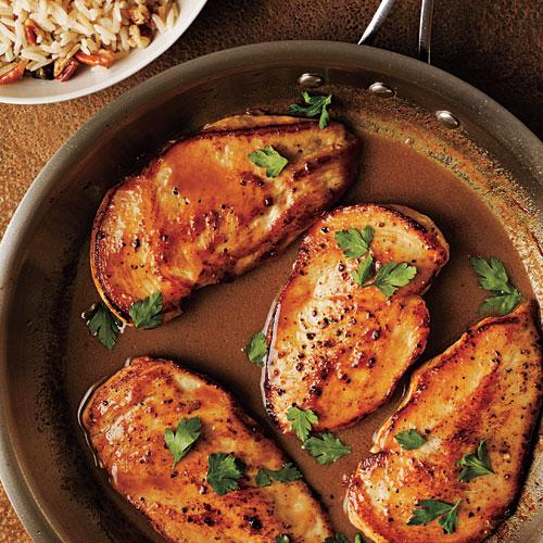 Cider-Glazed Chicken with Browned Butter-Pecan Rice Recipes