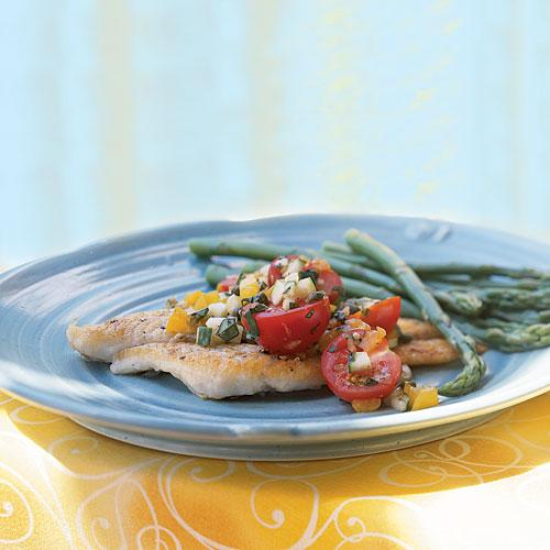 Low-Cal Pan-Fried Sole with Cucumber and Tomato Salsa