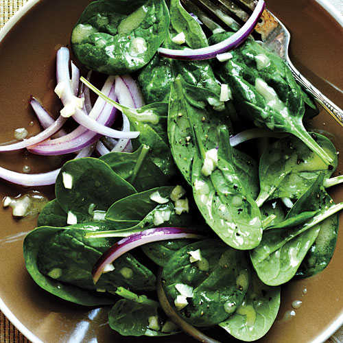 Easter Spinach with Garlic Vinaigrette Recipe