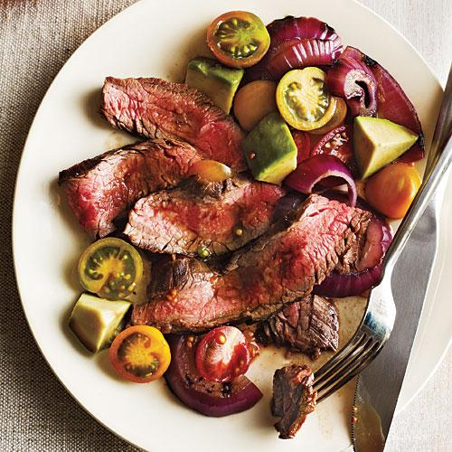 Grilled Flank Steak with Onions, Avocados, and Tomatoes