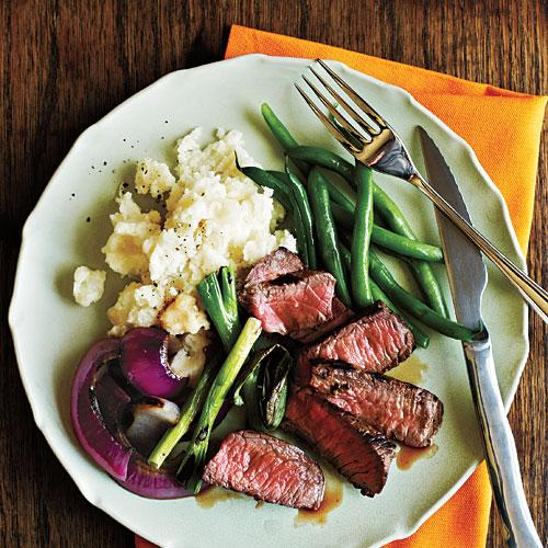 Grilled Steak with Onions and Scallions Budget Cooking Recipe