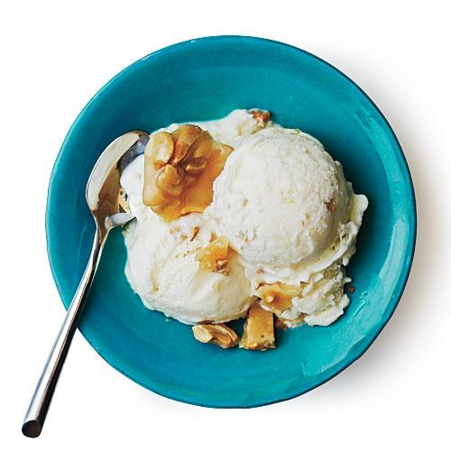 Tangy Ice Cream with Cashew Brittle Recipe