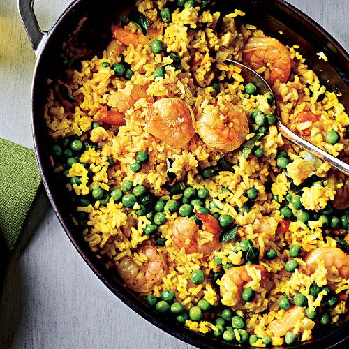Shrimp with Lemon-Saffron Rice Recipe