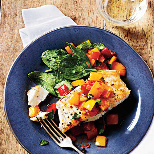 Pan-Seared Halibut with Bell Pepper Relish Recipe