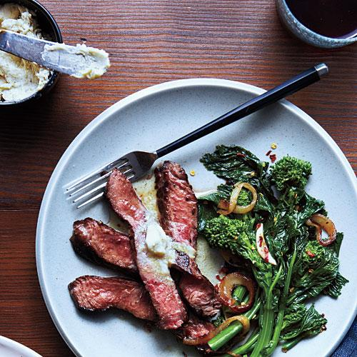 Grilled Sirloin with Anchovy-Lemon Butter and Broccoli Rabe