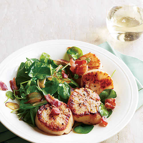 Seared Scallops with Wilted Watercress and Bacon Recipe