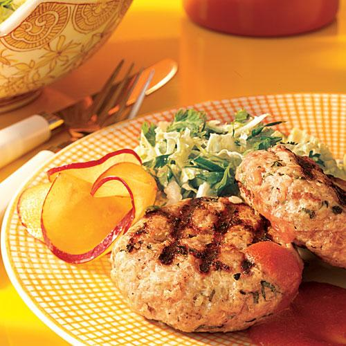 Pork Patties with Plum Sauce and Napa Cabbage Slaw Recipe