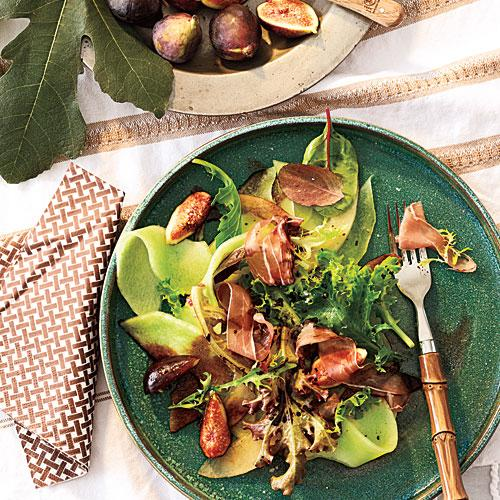 Melon and Fig Salad with Prosciutto and Balsamic Drizzle