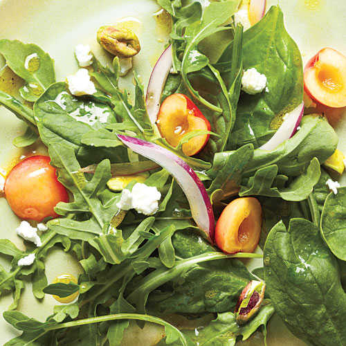 Salad with Cherries, Goat Cheese, and Pistachios