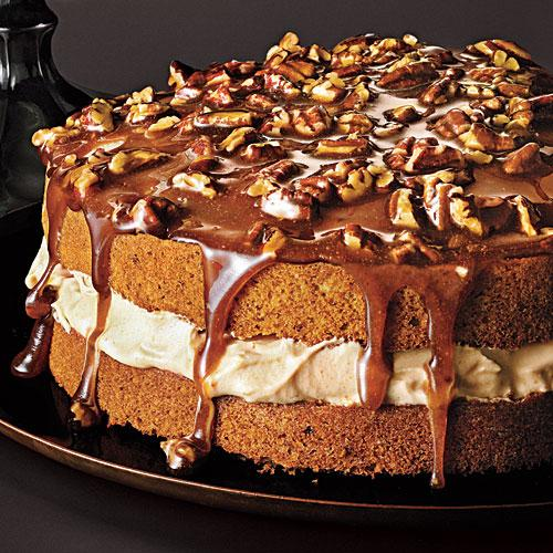Pecan Cake with Caramel Mousse and Brown Sugar Topping