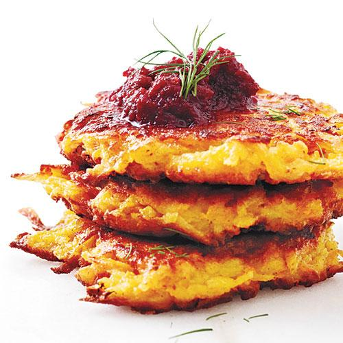 Crispy Root Vegetable Latkes with Beet Puree - Cooking with Beets ...