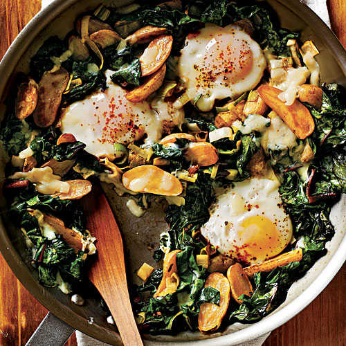 Fingerling Potato-Leek Hash with Swiss Chard and Eggs Comfort Food