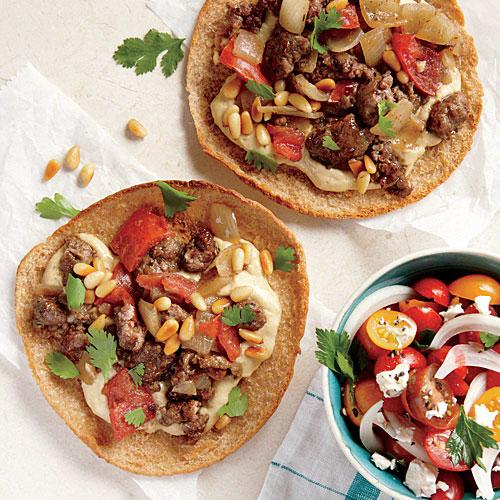 "Ground Lamb and Hummus Pita ""Pizzas"""