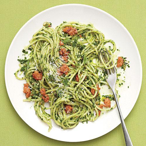Spaghetti with Parsley Pesto and Sausage