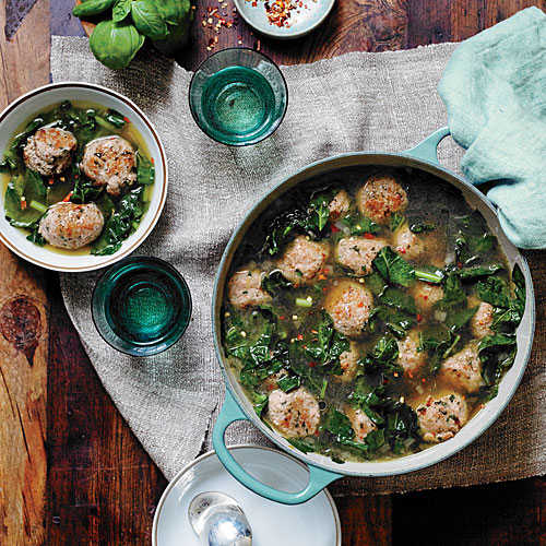 Turkey Meatball Soup with GreensIncredible Kale Recipes