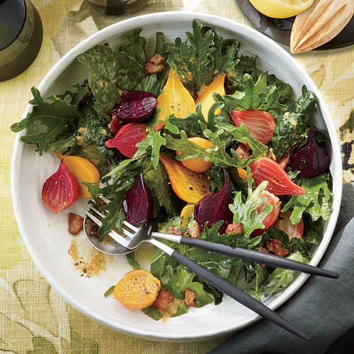 Fizz Kale Salad with Roasted Garlic-Bacon Dressing and Beets