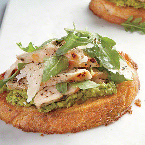 Open-Faced Chicken Sandwiches with Green Pea Spread