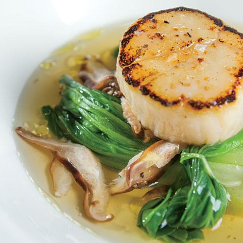 Grilled Scallops with Baby Bok Choy