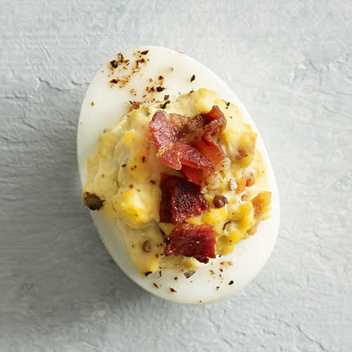 Bacon and Blue Cheese Deviled Eggs - Lighter Bacon Recipes - Cooking ...
