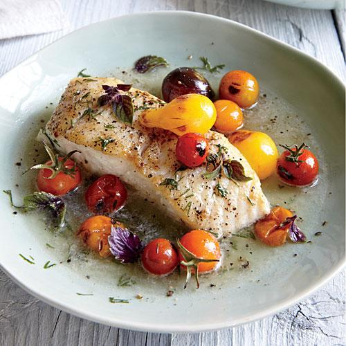 Halibut with Charred Tomatoes and Dill