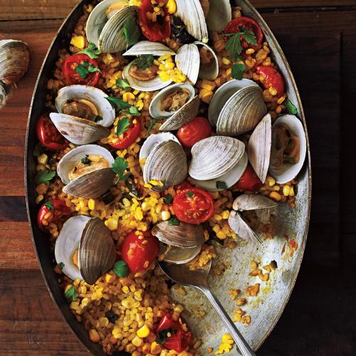 paella with poblanos corn and clams recipe