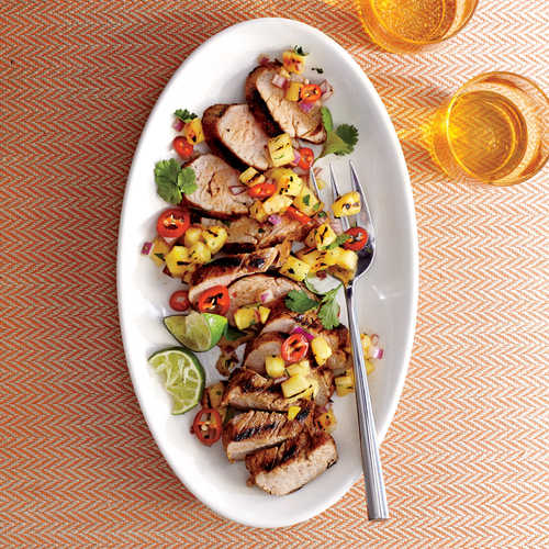 Caribbean Grilled Pork Tenderloin With Grilled Pineapple