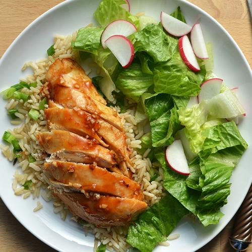 Spicy-Sweet Chicken Breast with Green Onion Rice and Spring Salad