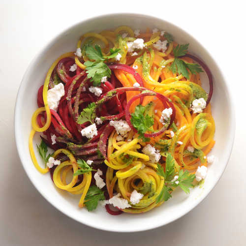 Spiralized Beet and Butternut Squash Noodles with Parsley Pesto