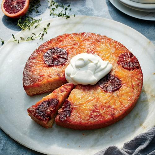 Citrus Upside Down Cake With Sour Whipped Cream