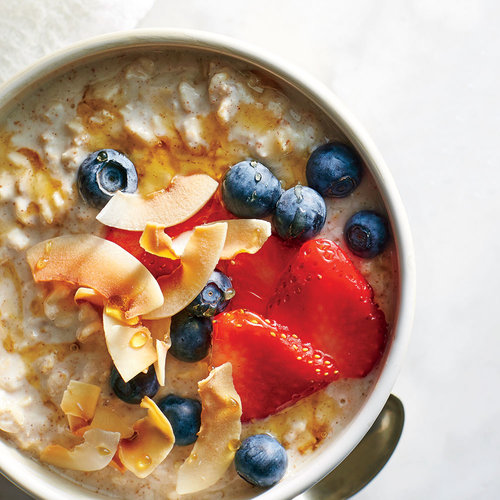 Overnight Oats with Kefir, Berries, and Toasted Coconut