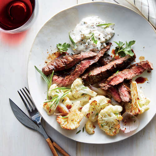 Skirt Steak with Remoulade and Roasted Cauliflower