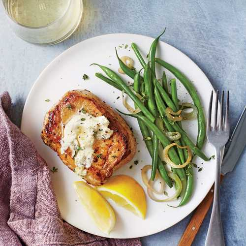 Pork Chops with Herbed Goat Cheese Butter and Green Beans