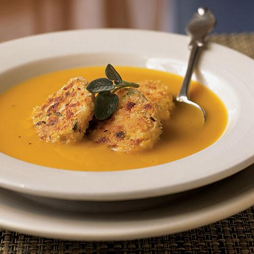 Healthy Roasted Squash Soup with Turkey Croquettes Recipe